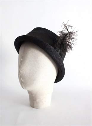 ca. 1890's Ladies Straw Trilby Hat with Ostrich Feather