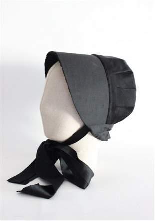 Victorian Black Silk Bonnet, ca. mid 19th c.
