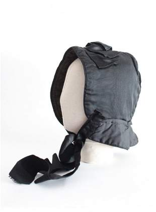 Black Silk Faille Winter Bonnet, ca. 1850's