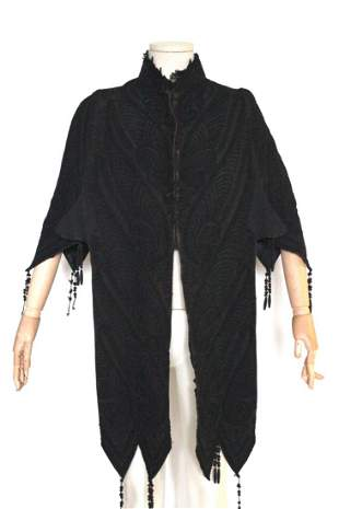 ca. 1870's Black Shawl with Soutache Embroidery