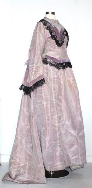 ca. 1870's Lavender Silk Moire 2 Piece Couture Dress