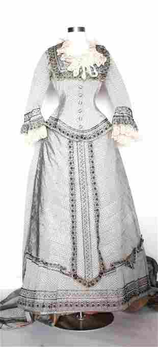ca. 1880's Gray Silk Jacquard Gown with Lace Trim