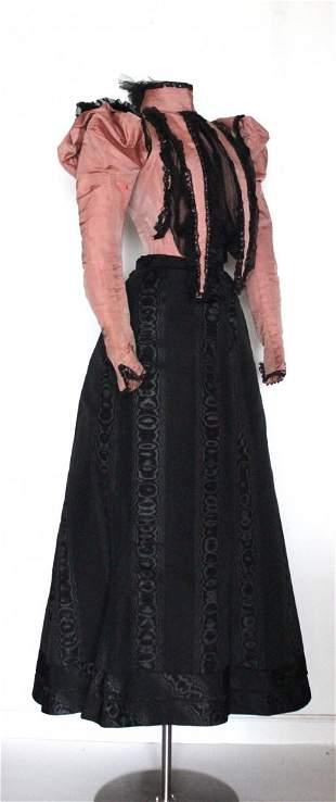 ca. 1890's Belle Epoque Silk Bodice & Skirt