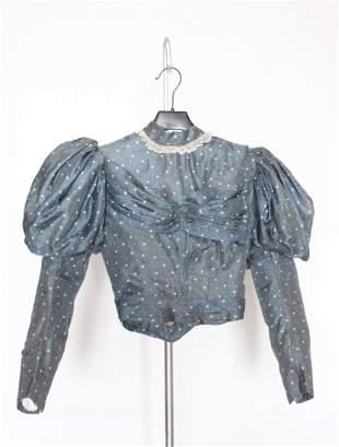 ca. 1890's Belle Epoque Blue Polka Dot 2 Piece Dress