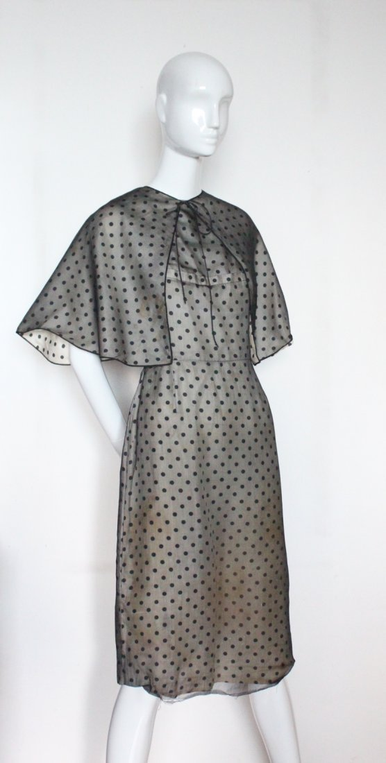 Pauline Trigere Polka Dot Silk Dress with Cape,