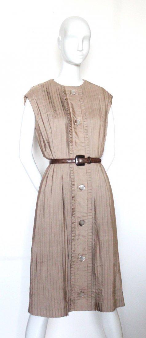 Guy Laroche Demi Couture Pleated Silk Dress, ca. 1966