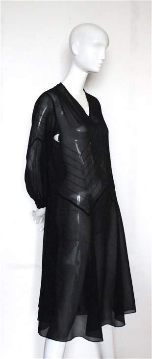 Vionnet Style Black Crepe Chiffon Dress, ca. 1926
