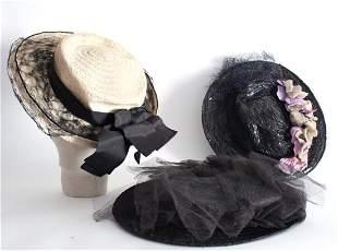 3 Straw Hats ca 1940s50s