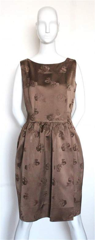 Frederica of London Brown Brocade Dress ca 1950s