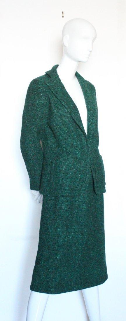 Pauline Trigere Green & Black Tweed Suit, ca. 1970's