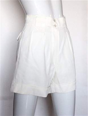 Alaia Paris OffWhite Acetate Twill Shorts ca 1980s