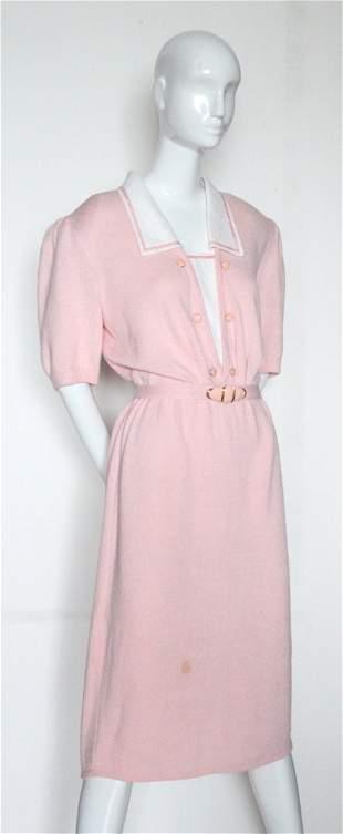 St John for Saks Fifth Avenue Pink Knit Dress c1980s