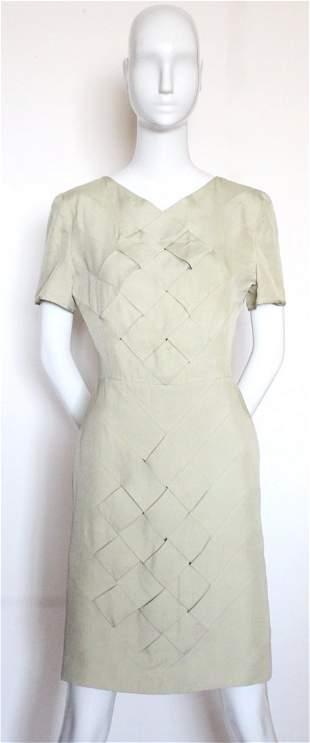 Valentino Boutique Celadon Green Silk Dress ca1980s