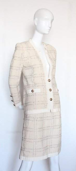Adolfo Beige Knit Chanel Style Suit ca 1980s