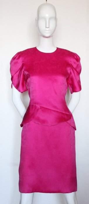 Carolina Herrera Pink Silk Jacquard Organza Dress 80s