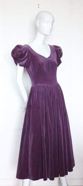 Laura Ashley Purple Velvet Dress ca1980s
