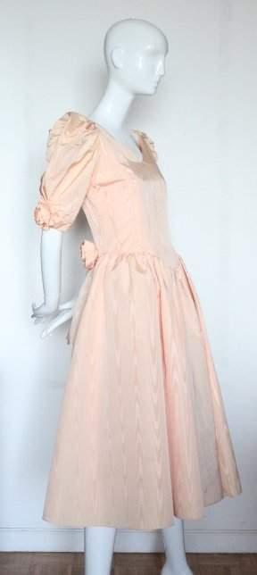 Scaasi Boutique Salmon Moire Taffera Dress 1980s