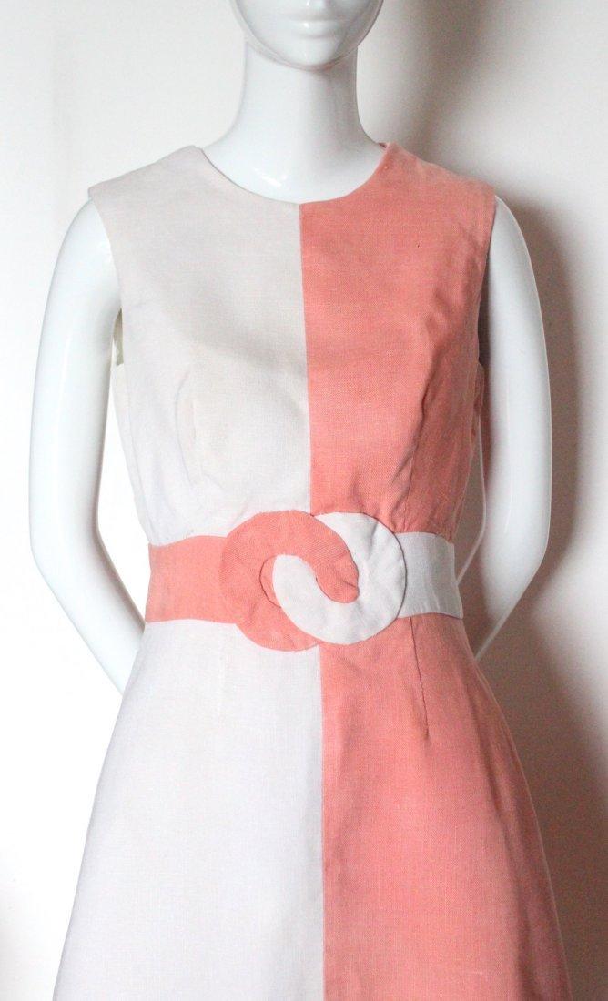Louis Feraud Salmon & White Linen Mod Dress, ca. 1960's