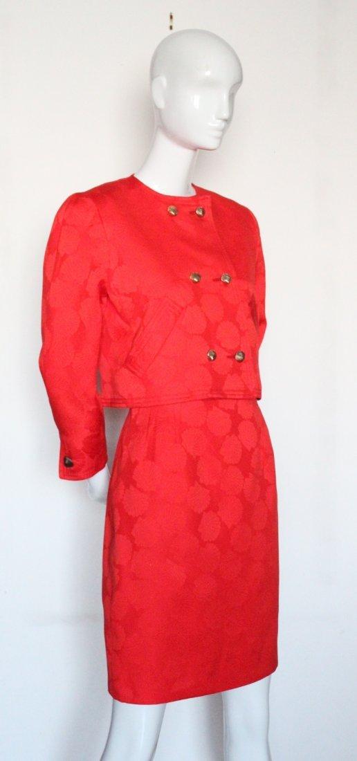 Bill Blass Red Cotton Suit, ca. 1990's