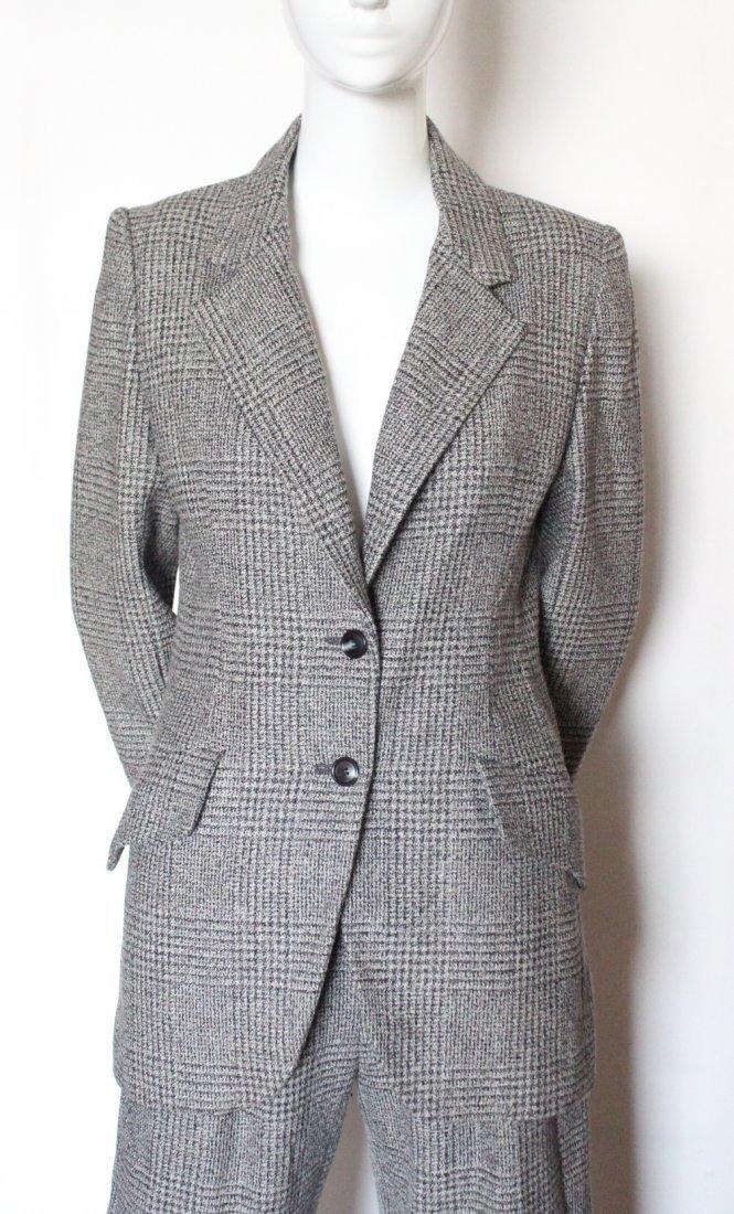 Bill Blass Gray Plaid Pant Suit, 1990's
