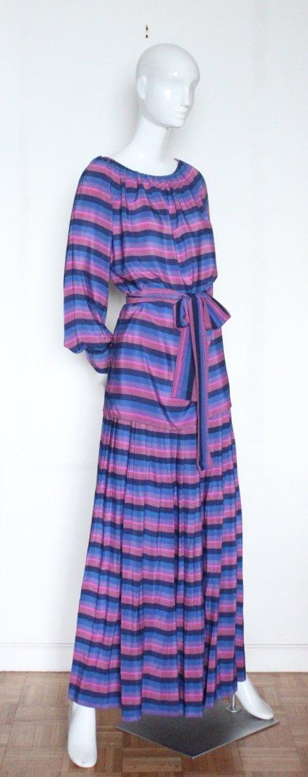 Guy Laroche Striped Silk Blouse & Skirt Set, ca. 1970's