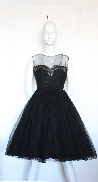Harvey Berin Black Cocktail Dress, ca.1950's