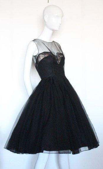 Harvey Berin Black Cocktail Dress, ca.1950's - 2