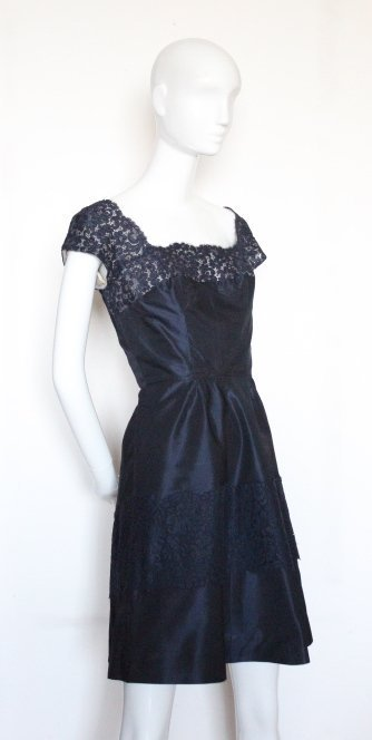 Norman Norell Silk Taffeta & Lace Dress, ca. 1960's - 2
