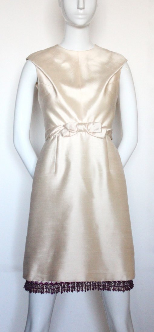 Christian Dior Beige Silk Beaded Dress, S/S 1965 - 2