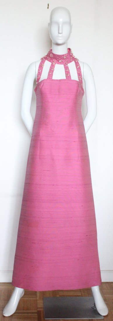 Pierre Cardin Embroidered Pink Evening Dress, ca. 1966