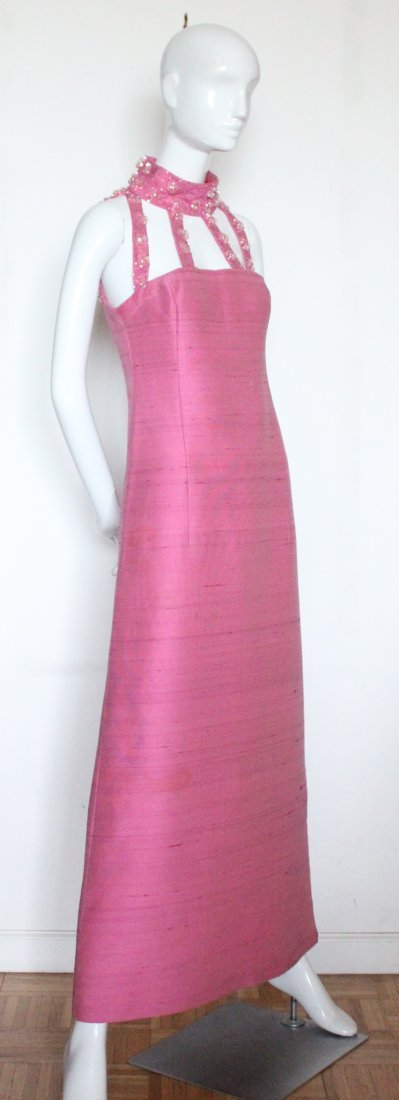 Pierre Cardin Embroidered Pink Evening Dress, ca. 1966 - 2