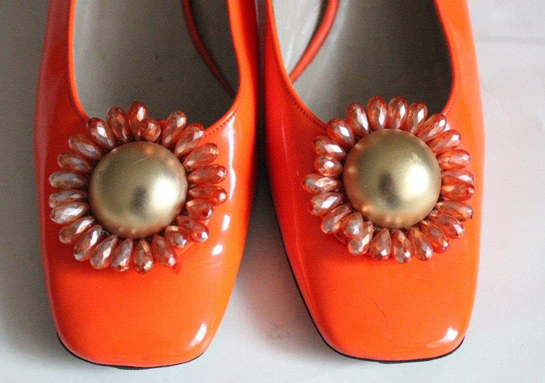 Christian Dior Orange Patent Slingback Shoes,1960's - 2