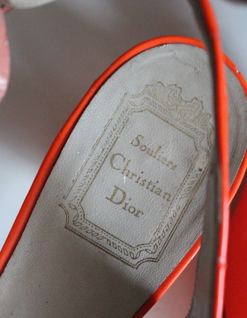 Christian Dior Orange Patent Slingback Shoes,1960's - 3