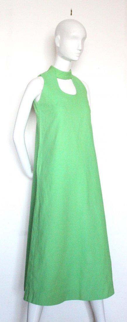 Kiyomi of Hawaii Green Mod Dress, ca.1960's-70's