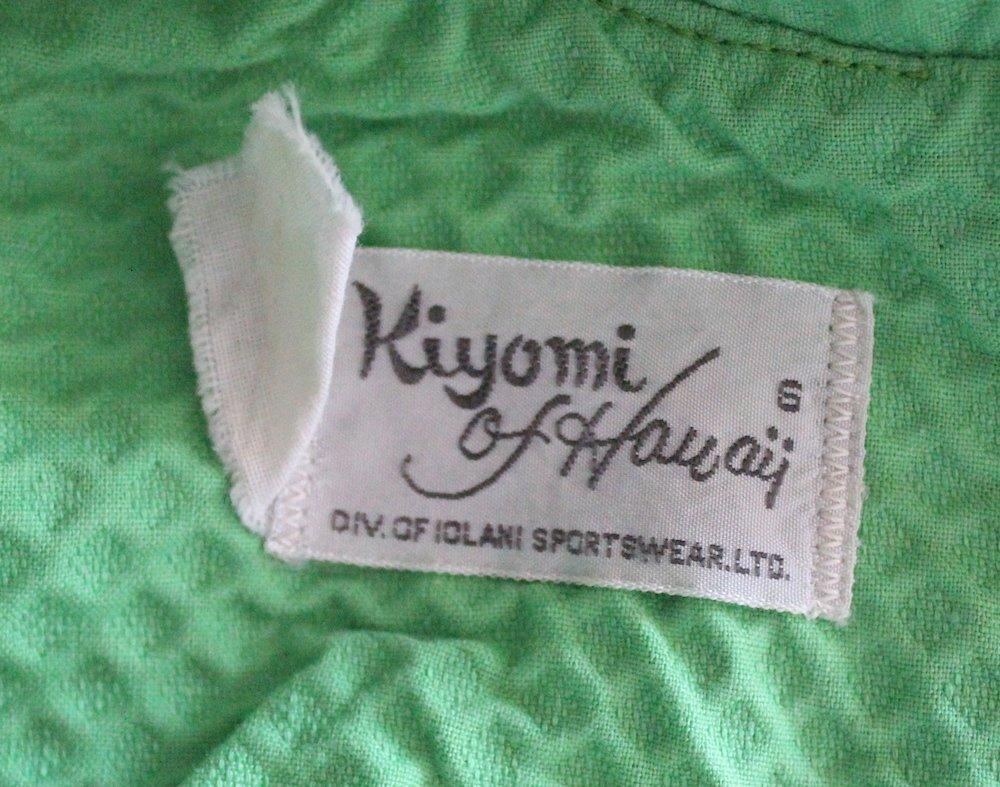 Kiyomi of Hawaii Green Mod Dress, ca.1960's-70's - 3
