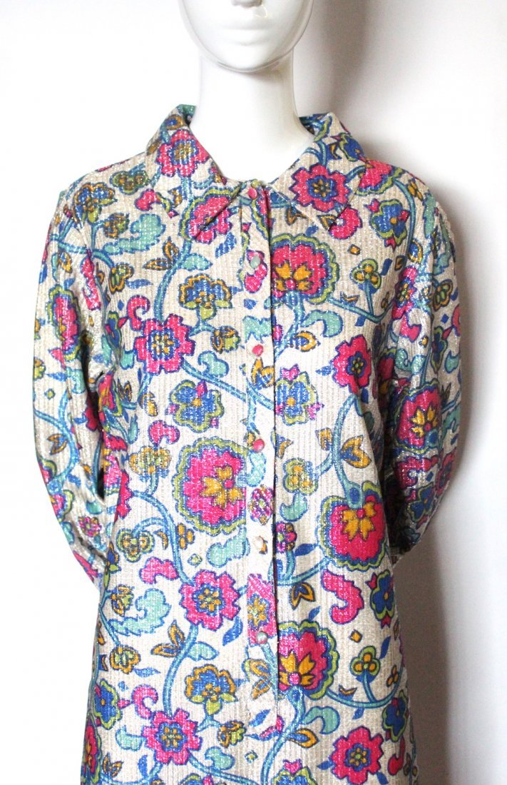 Mr. Paul Floral Print Lurex Knit Dress, ca. 1960's - 2