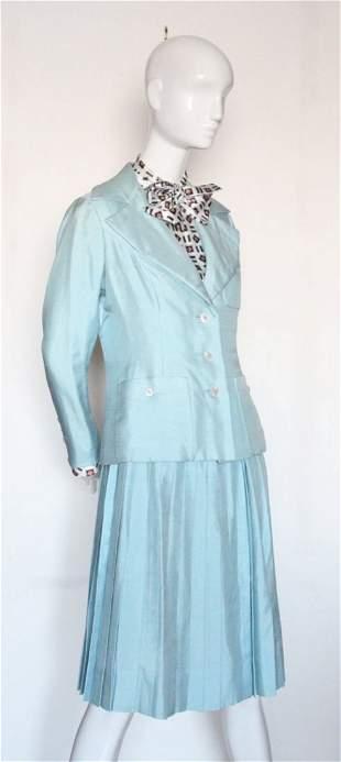 Davidow 3 piece Blue Silk Suit 1970s