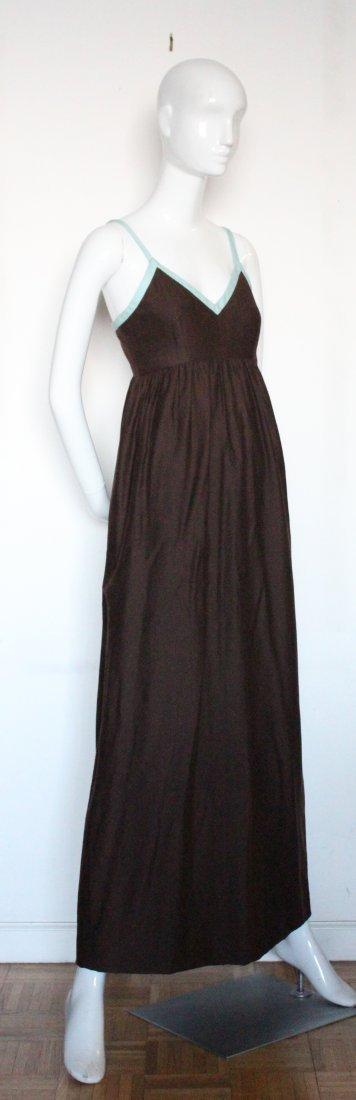 Henri Bendel Brown Jersey & Linen Dress, ca.1970's