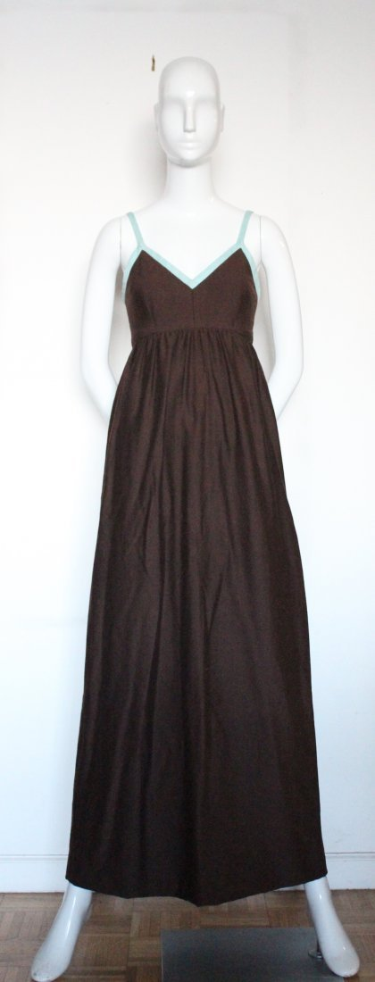 Henri Bendel Brown Jersey & Linen Dress, ca.1970's - 2