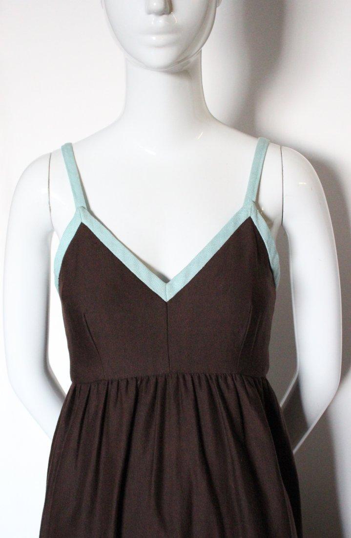 Henri Bendel Brown Jersey & Linen Dress, ca.1970's - 3