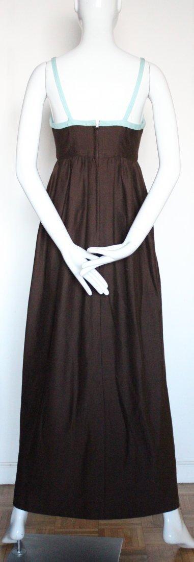 Henri Bendel Brown Jersey & Linen Dress, ca.1970's - 4