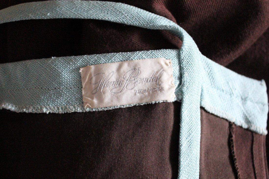 Henri Bendel Brown Jersey & Linen Dress, ca.1970's - 5