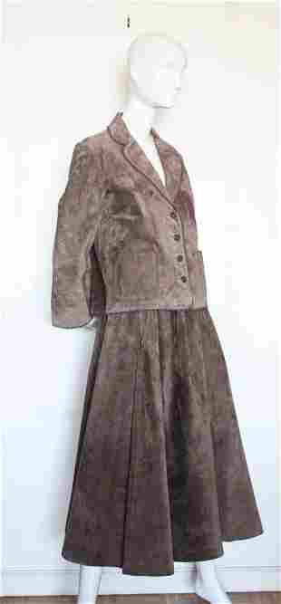 Anne Klein Brown Suede Skirt Suit ca1975