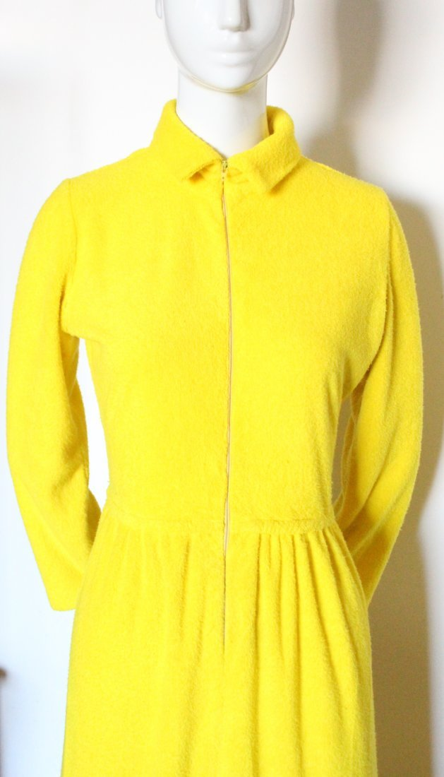 Henri Bendel Yellow Terry Cloth Beach Dress, ca.1970s - 2
