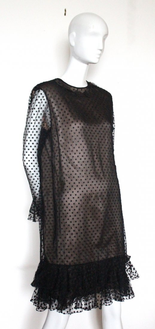 Chez Ninon Couture Polka Dot Tulle Dress, ca.1970's