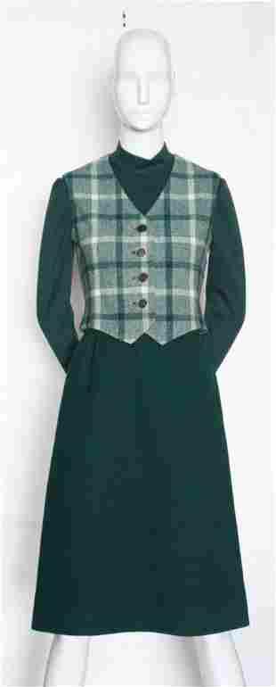 Bill Blass Green Wool Suit ca 1970s
