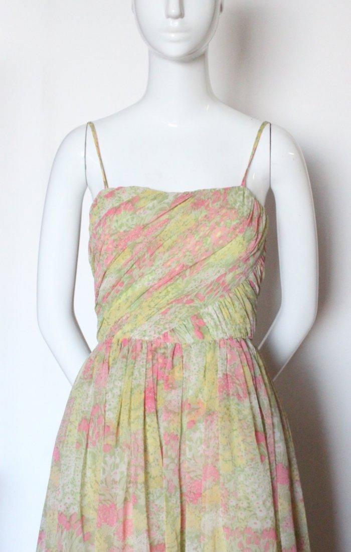 Larry Aldrich Floral Chiffon Maxi Dress,1970's