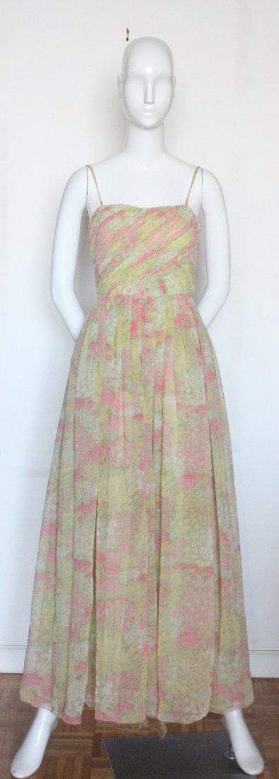 Larry Aldrich Floral Chiffon Maxi Dress,1970's - 2