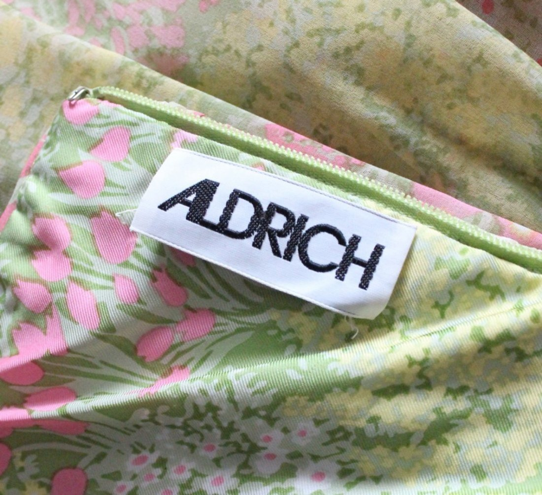 Larry Aldrich Floral Chiffon Maxi Dress,1970's - 4