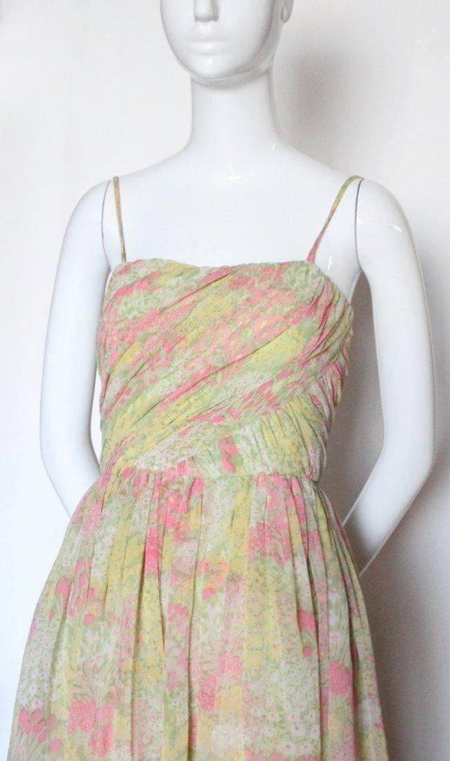 Larry Aldrich Floral Chiffon Maxi Dress,1970's - 5